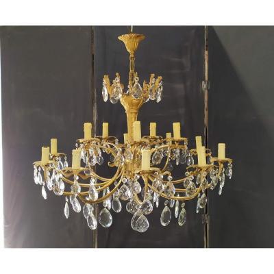 Gilt Bronze Chandelier And Crystal Pendants