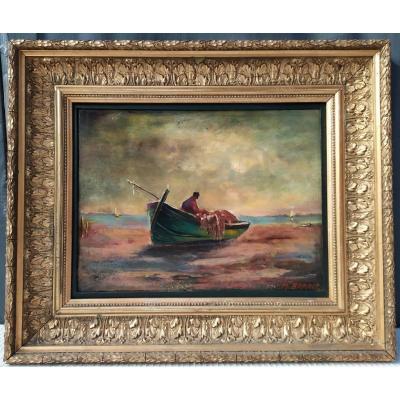 Marine Painting Signed M. Barret