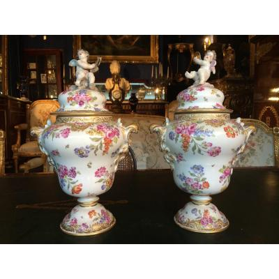 Pair Of Porcelain Vases From Saxe