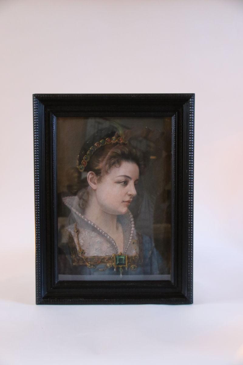 Dessin D'époque 19ème Dans Le Style Du 17ème Siècle Représentant Une Princesse Richement Vêtue