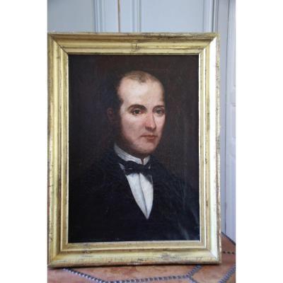 1)Portrait D'un Homme En Habit. Huile Sur Toile D'époque 19ème.