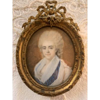Miniature On Ivory Representative A Lady Of Quality.