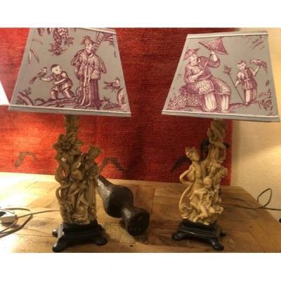 Paire De Lampes Chinoises