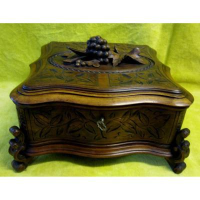 Boite Coffret Bijoux Sculpture Forêt Noire Raisins Napoléon III