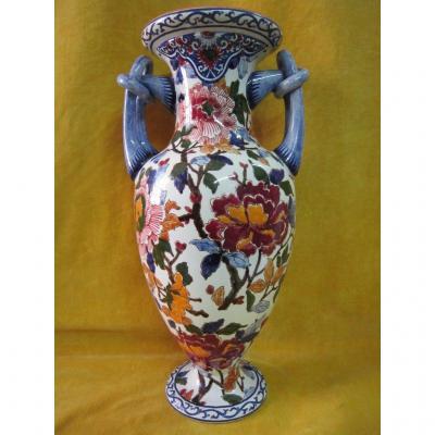 Large Vase Ansé Gien Decor Painted Peony