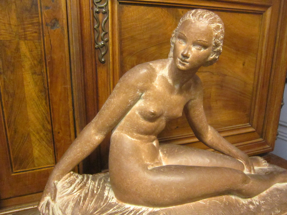 Grande Sculpture Femme Alanguie Art Déco De Joe Descomps