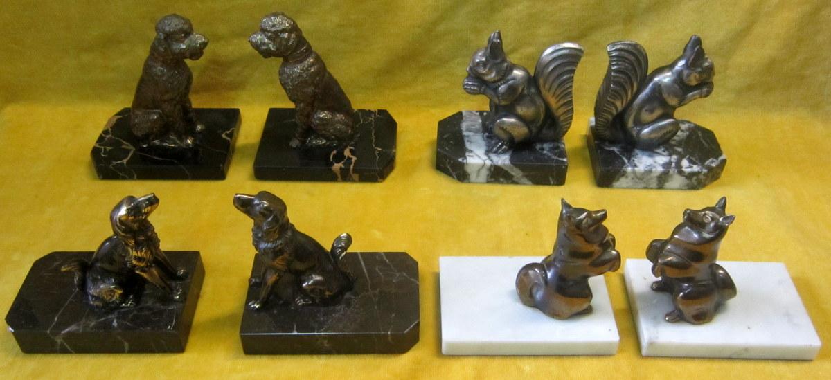 Serres-livres Animaliers (lot) Sur Marbre Art-déco 30-50