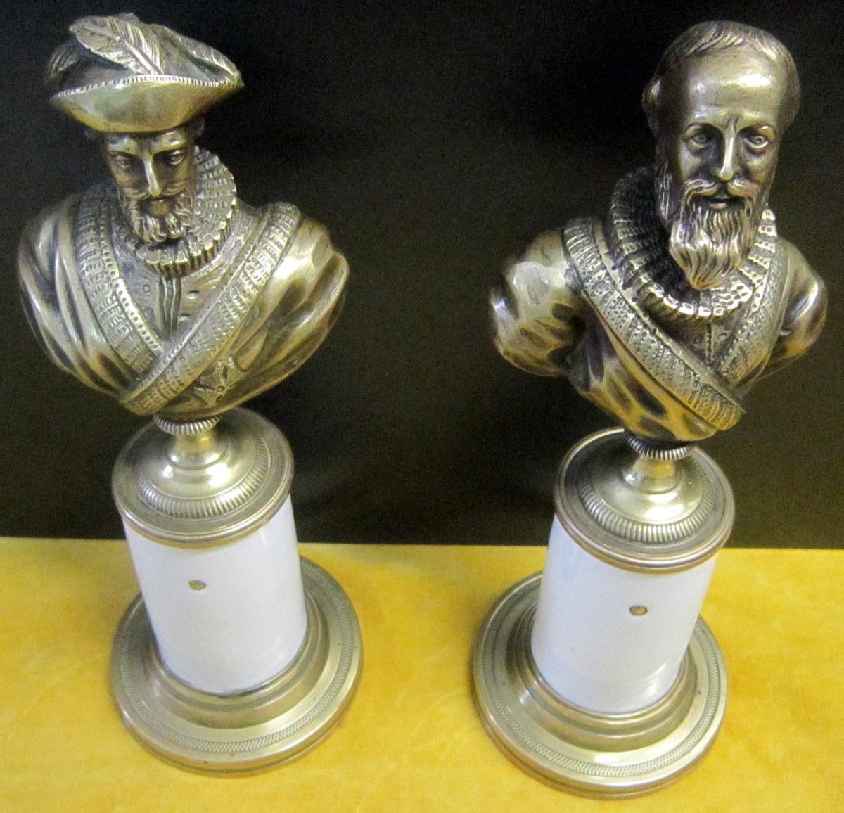Bronze Roi Henri IV Et Duc De Sully Fin 18éme Début 19éme
