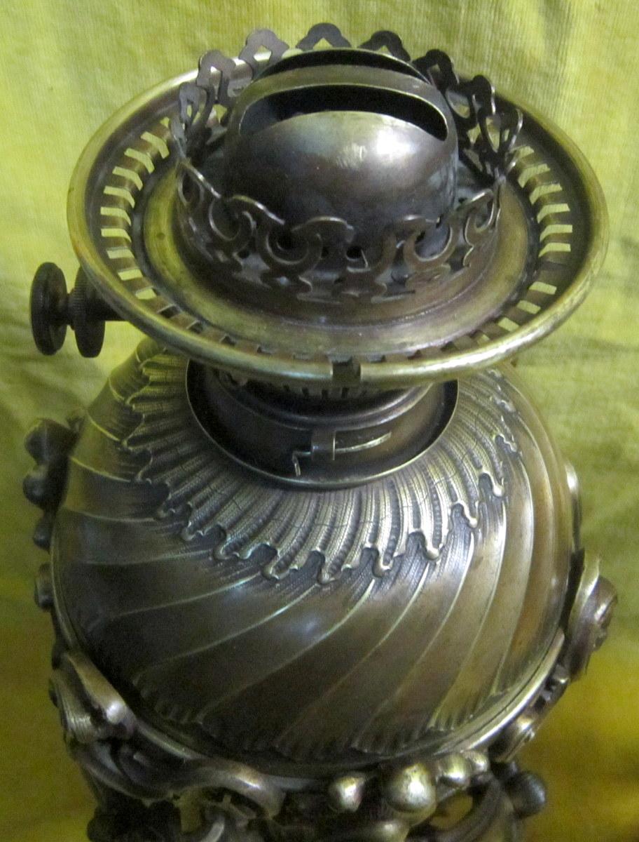 Paire Grandes Lampes Bronze St LXV Rocaille Napoléon III-photo-3