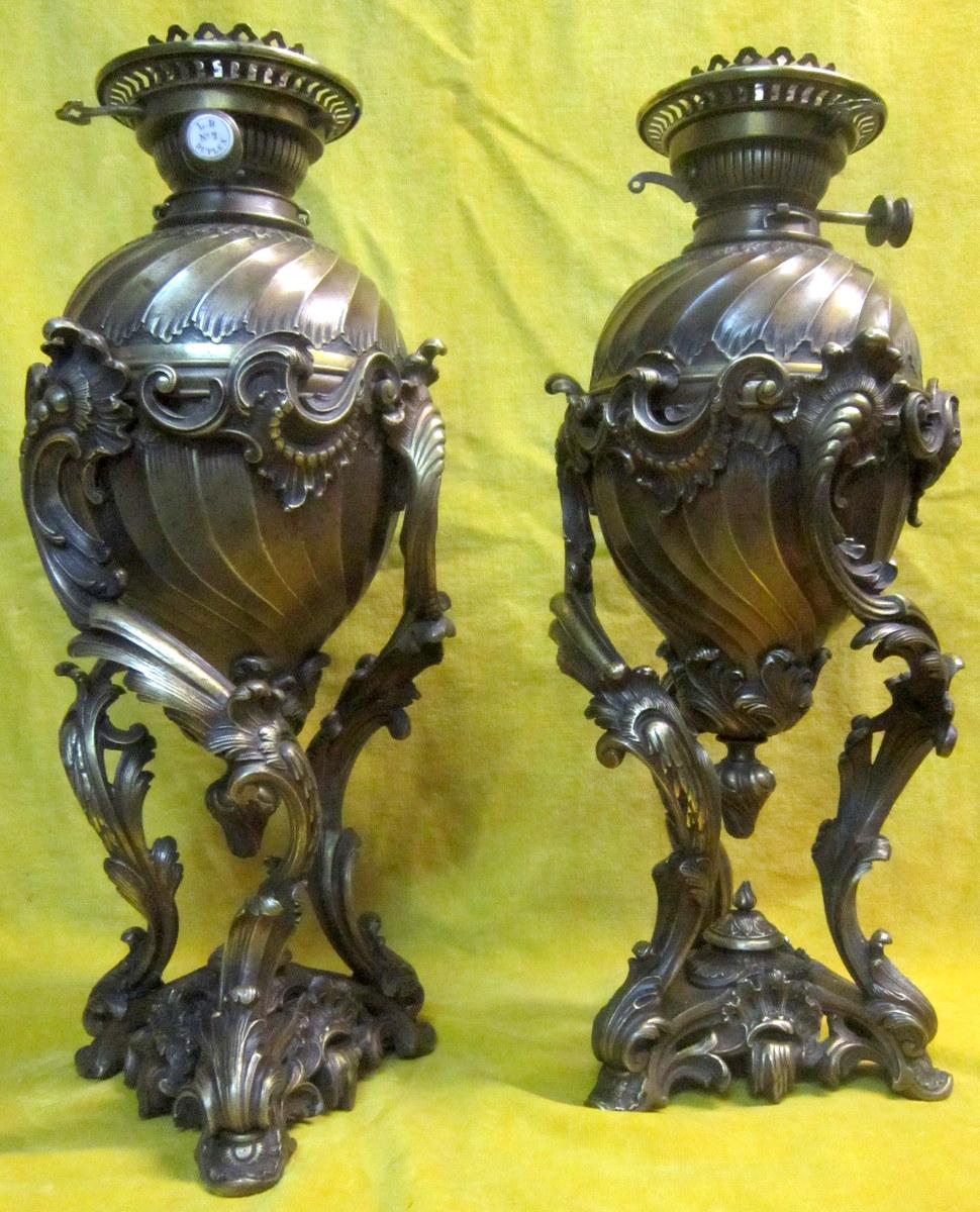 Paire Grandes Lampes Bronze St LXV Rocaille Napoléon III-photo-6