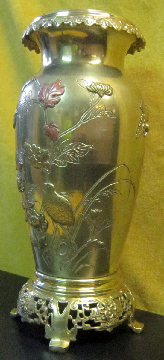 Vase Bronze Japon Meiji Impériale19éme Shibuichi