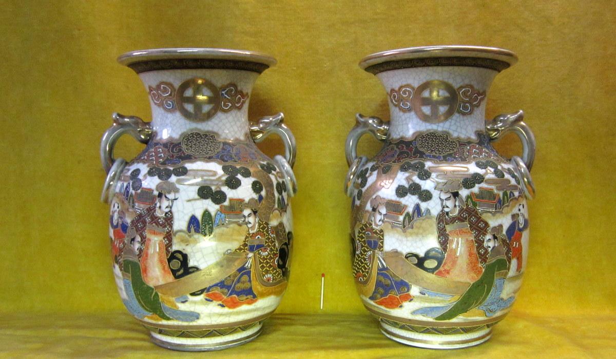 Vases Porcelaine Ansés Satsumas Japon Impériale Meiji 19éme