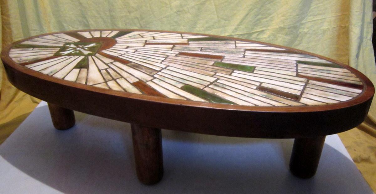 table basse c ramique vallauris barrois vintage 60 70 tables basses. Black Bedroom Furniture Sets. Home Design Ideas