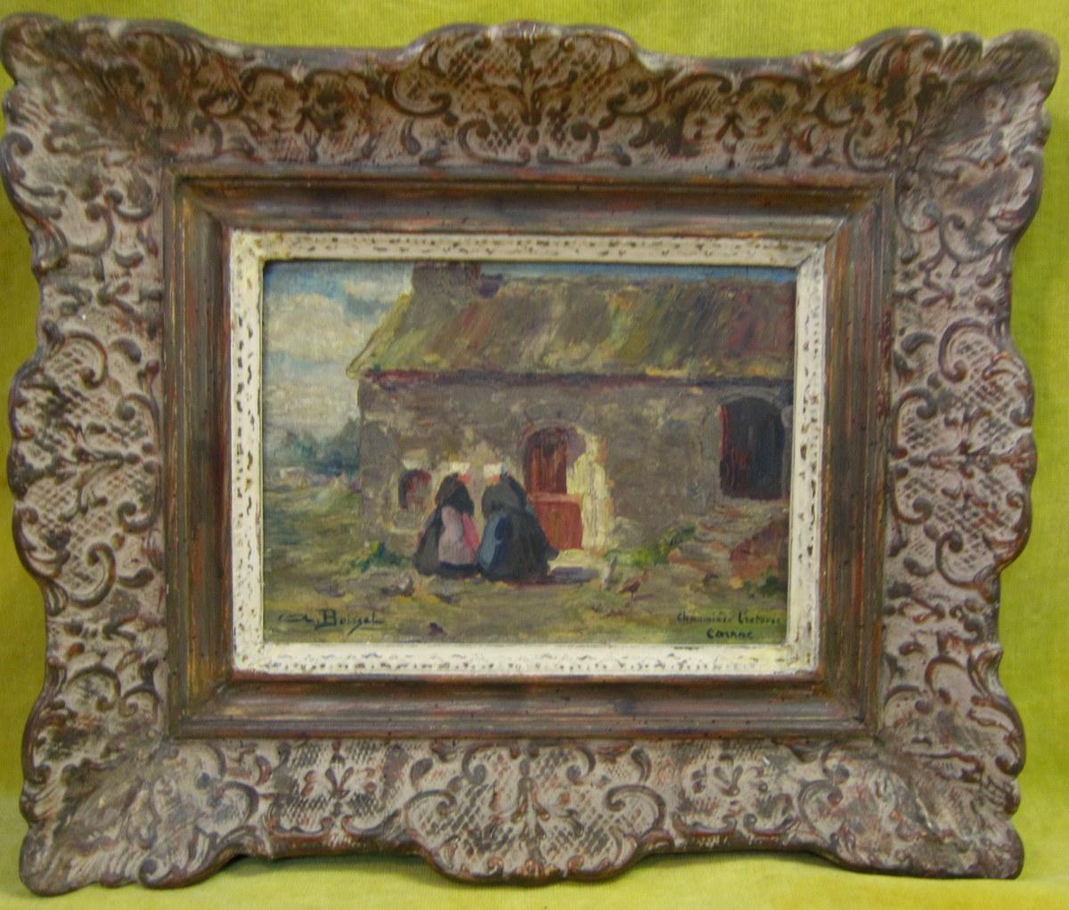 """Peinture à l'Huile """"chaumiére Bretonne à Carnac""""de A. Boisset"""