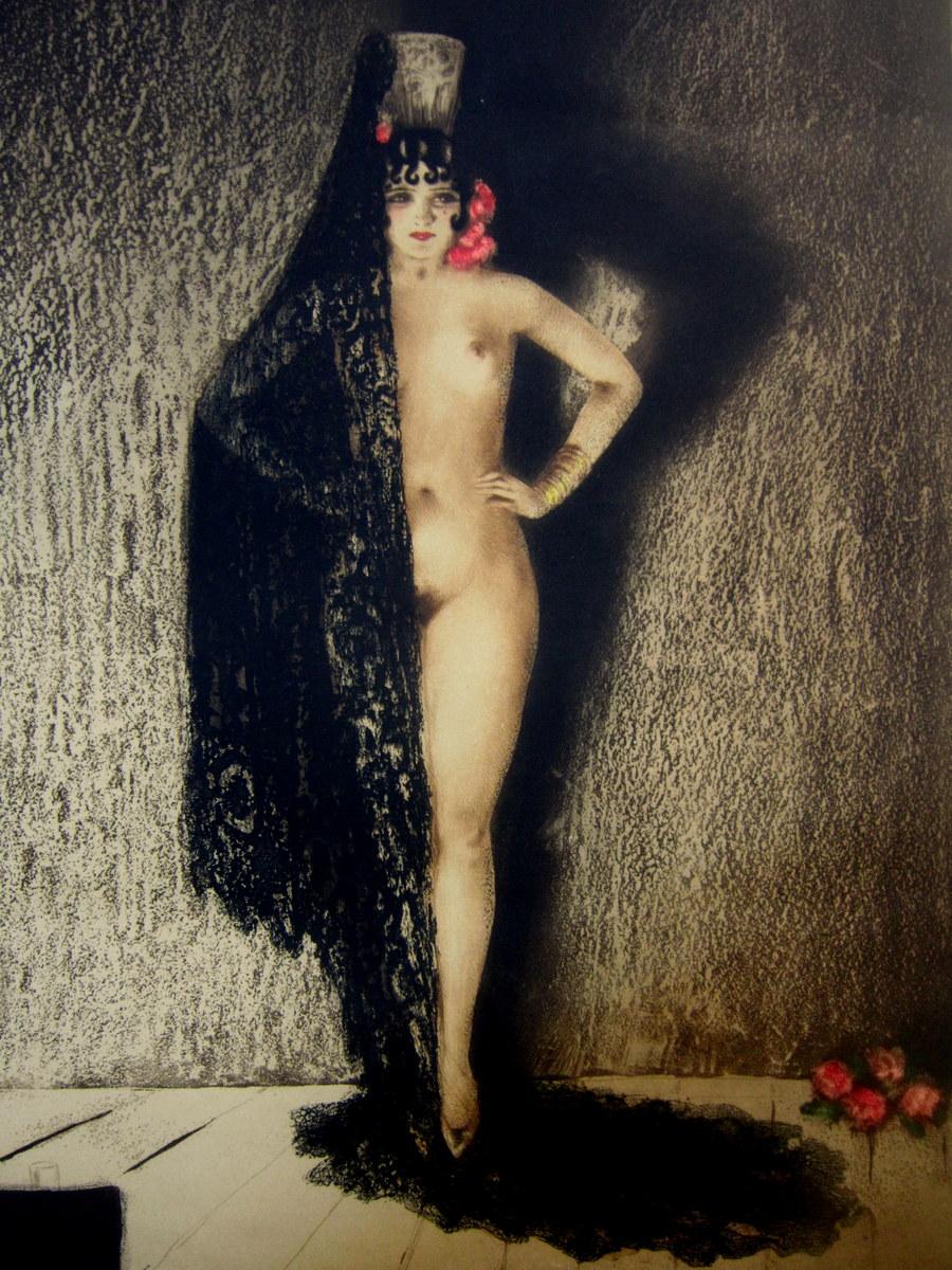"Gravure Litho Aquatinte ""CONCHITA"" Louis ICART Art Deco 1930"