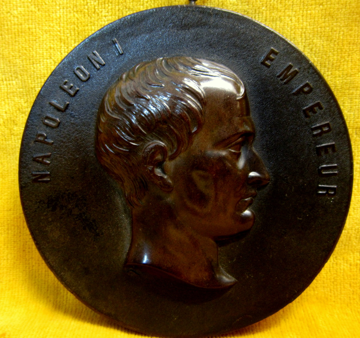 Médaille Napoleon 1er Empereur Bois Durci 19éme