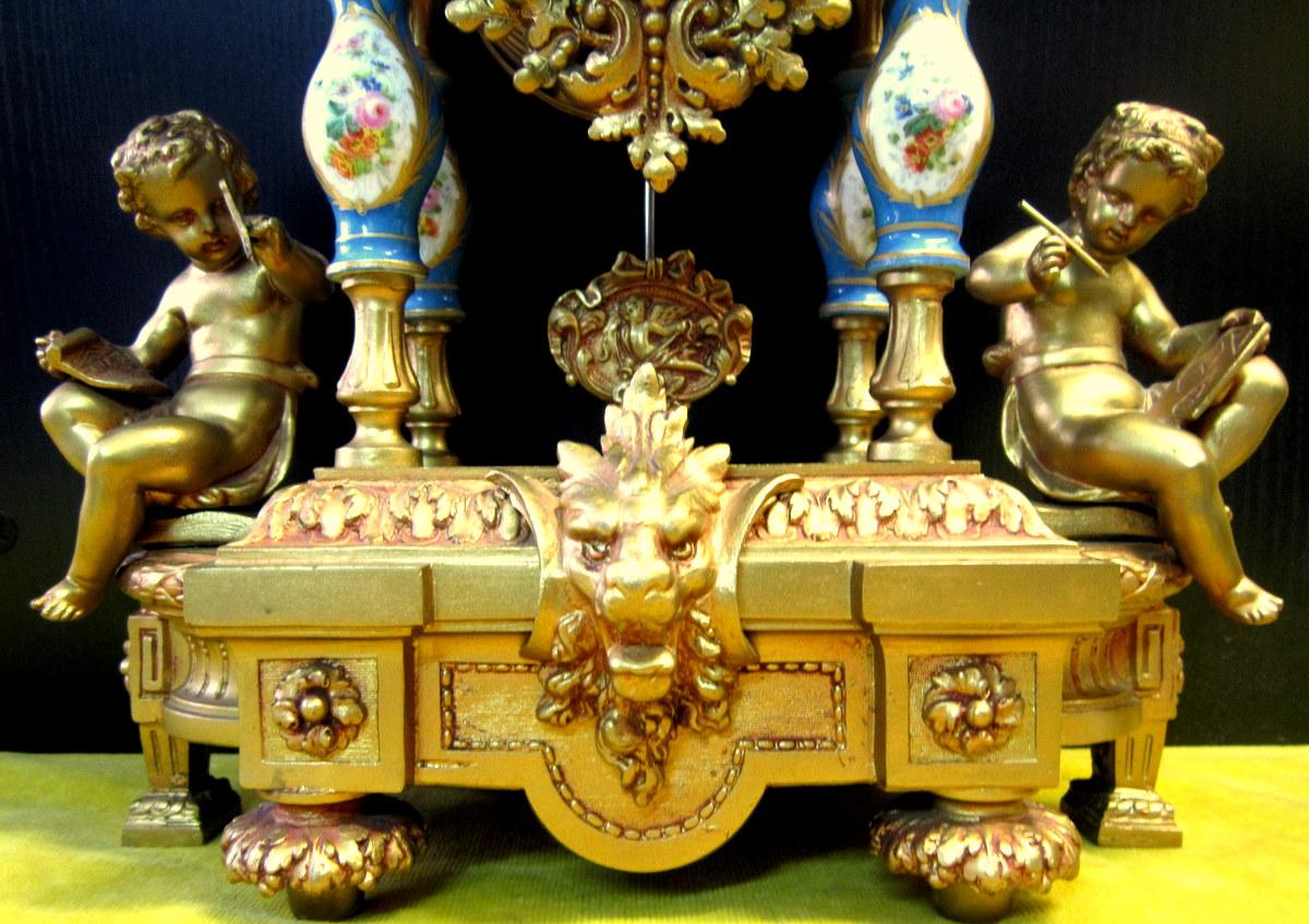 Pendule Néo-classique Lxv Décor St Sévres Napoléon III 19éme-photo-3