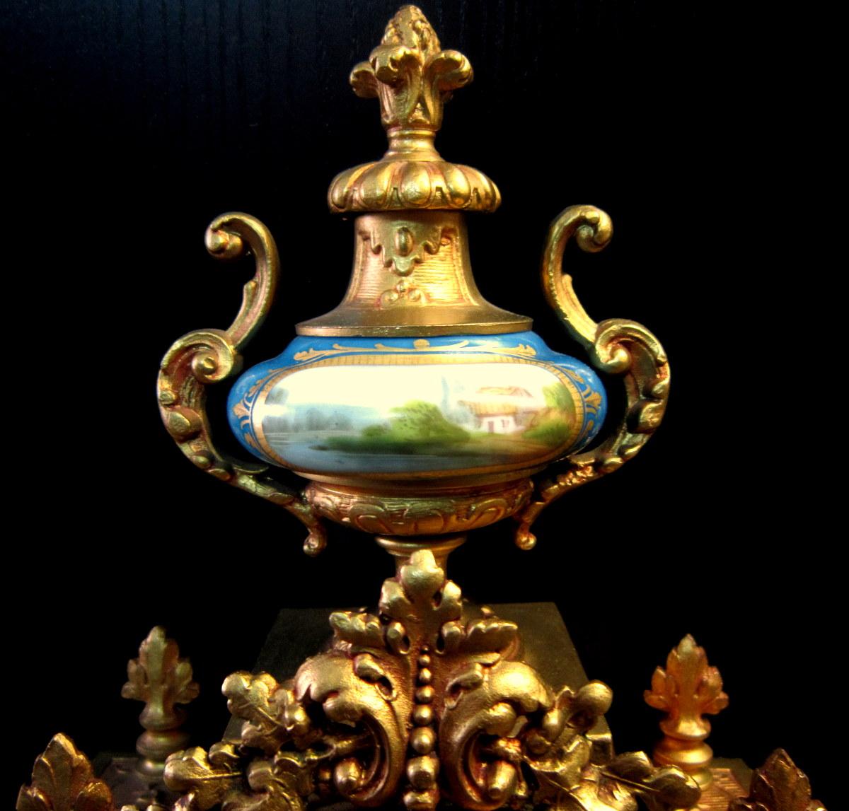 Pendule Néo-classique Lxv Décor St Sévres Napoléon III 19éme-photo-2