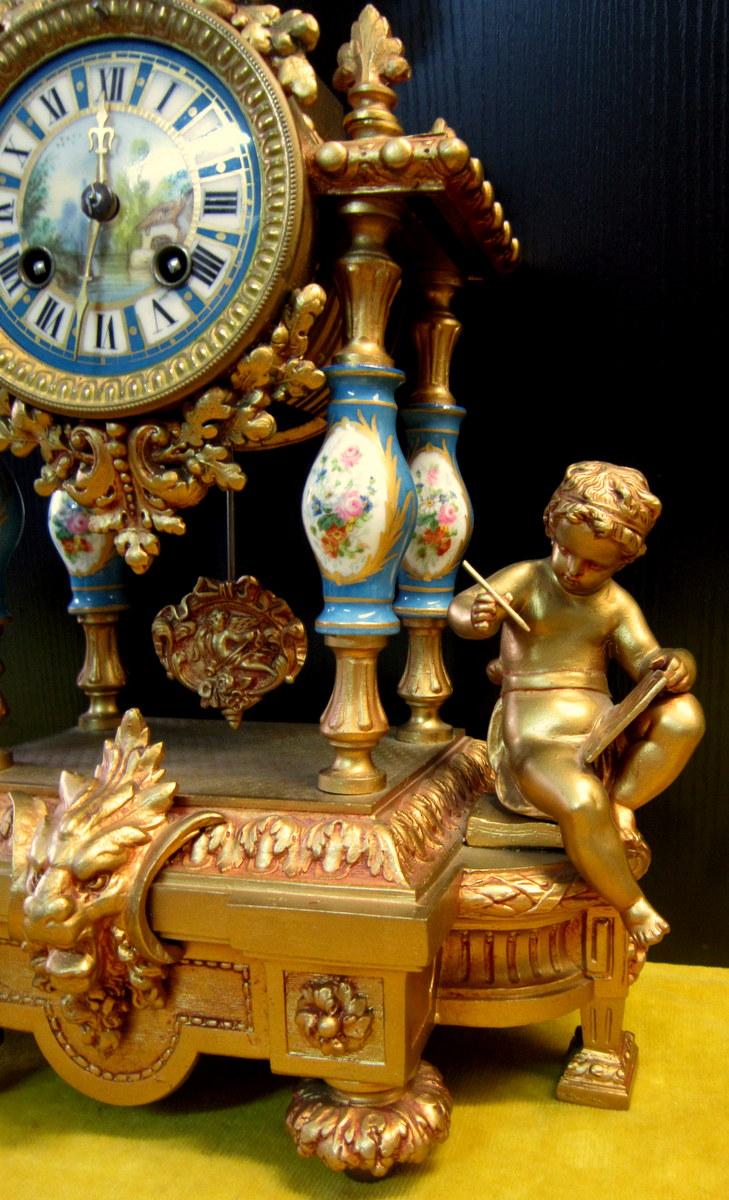 Pendule Néo-classique Lxv Décor St Sévres Napoléon III 19éme-photo-4