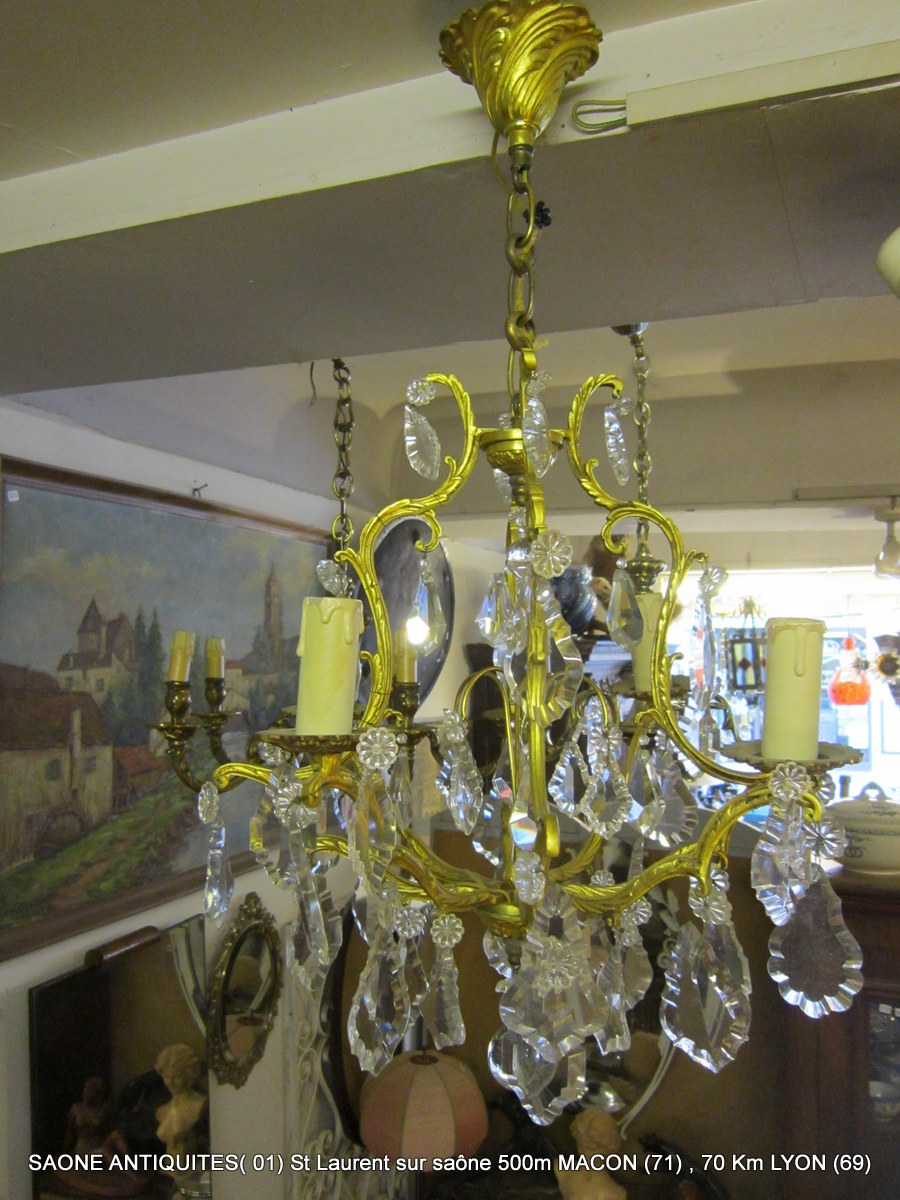 Dore Bronze Chandelier And Pampilles XV Style L