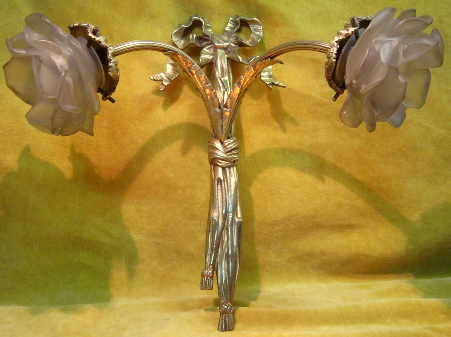 Gilt Bronze Wall Lamp St Lxvi 2 Lights Falling Flowers