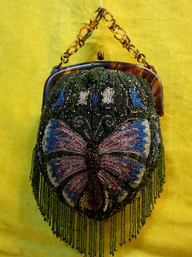 Handbag Short Sandblasted Beads Crazy Year Art Nouveau Butterfly