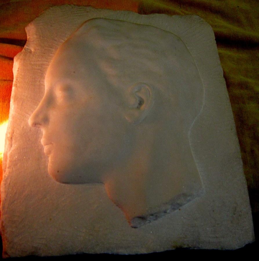 Sculpture Marble Profile Young Man Art Deco