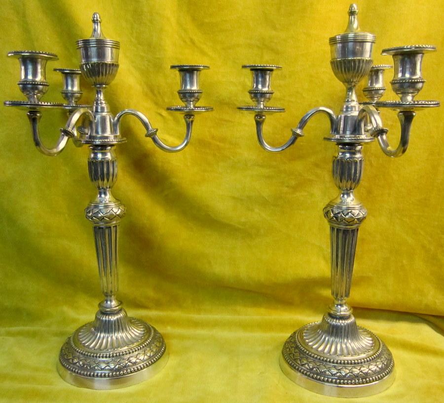 Grands Candélabres Chandeliers Cassolettes  St Lxvi Bronze Argenté 4 Feux