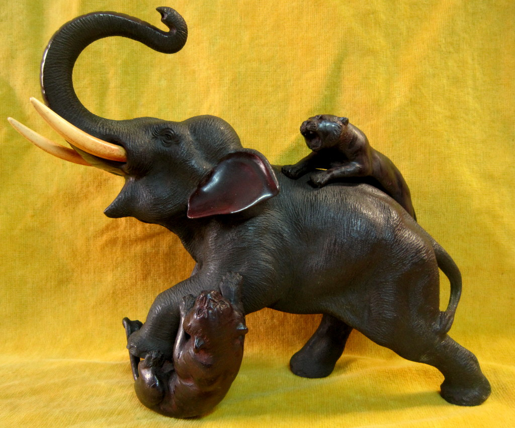 Elephant Sculpture Attacked By Two Tigers Imperial Japan Meiji