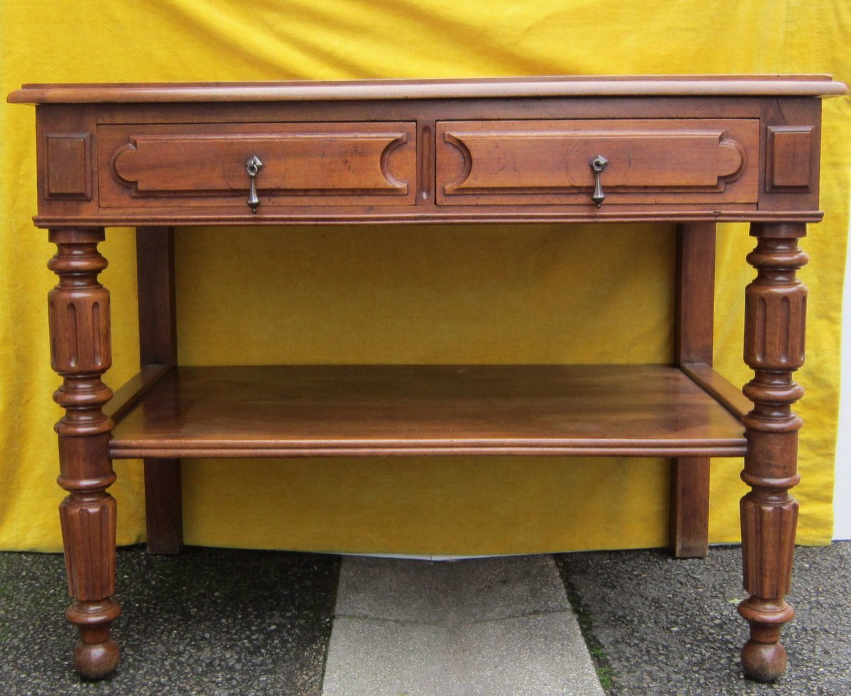 Serving Table Console Napoleon III Walnut 19th