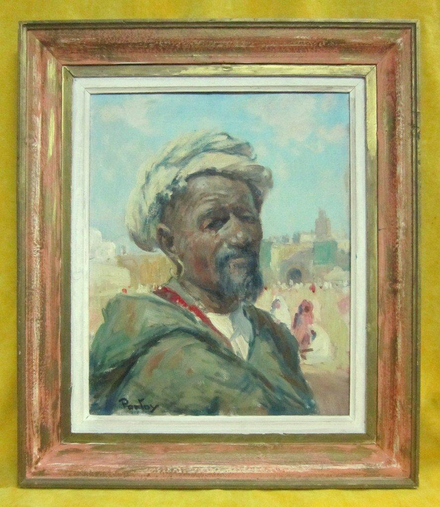 Orientalist Oil Portrait H.j. Pontoy (1888/1968) North Africa Man With Turban