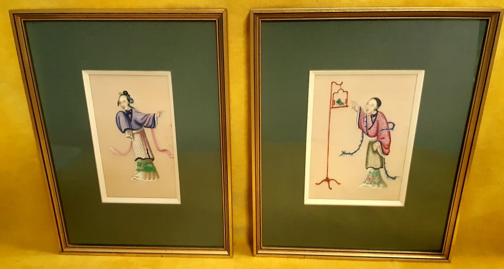 2 Paintings Gouaches Rice Paper School Canton 19th French Concession China Imperial Qing