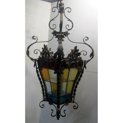 Large Wrought Iron Lantern Style Stained Glass And Lxv