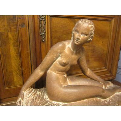 Large Sculpture Art Deco Woman Languid From Joe Descomps
