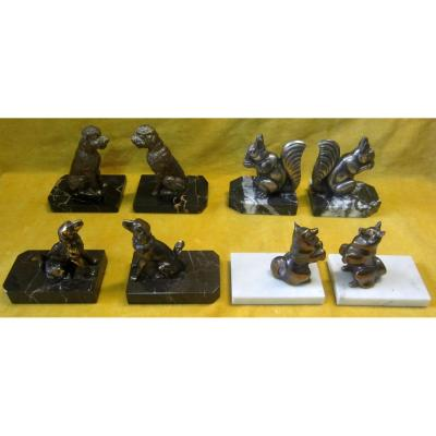 Animal Bookends On Marble Base Art Deco 30-50