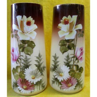 Painted Vases Opaline Emaillée 19th