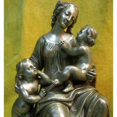 Vierge Et l'Enfant Et Saint Jean Baptiste Bronze St XVIIIéme