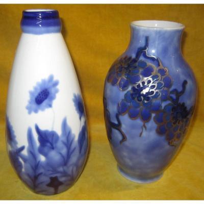 Vases Porcelaine De Limoges C. Tharaud  Art Déco