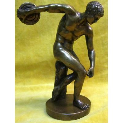 Bronze Athléte Discobole d'Aprés Myron  19éme