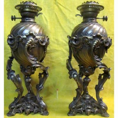 Paire Grandes Lampes Bronze St LXV Rocaille Napoléon III