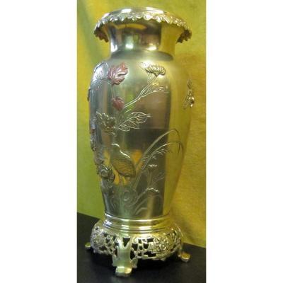 Bronze Vase Japan Meiji 19th Shibuichi