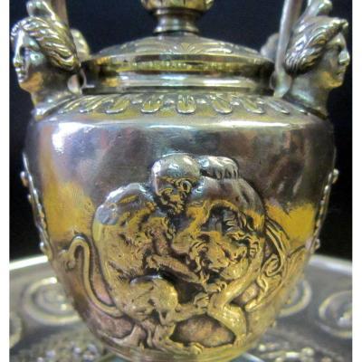 Grand Encrier Bronze Néoclassique Empire 19éme