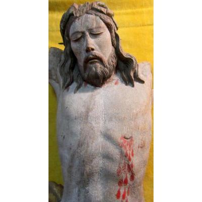 Grand Christ 17-18éme Chêne polychromé BRETAGNE