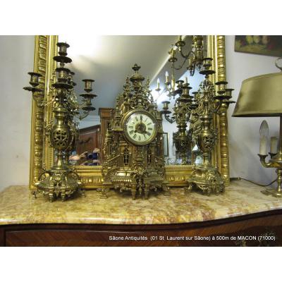 Pendule et Chandeliers Bronze Napoléon III