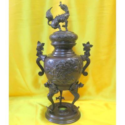 Brûle-parfum Bronze Chimére Japon Impériale Meiji 19éme
