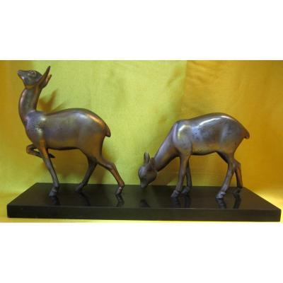 Biches Art Deco Sculpture Animaliére Rochard Irénée