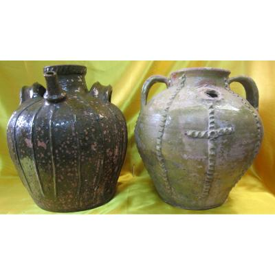2 Jars Jugs Flagons 18-19th Popular Art Centre France