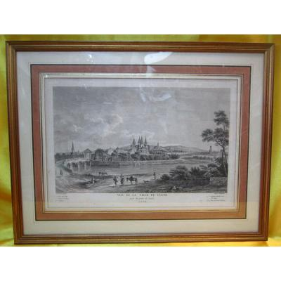 """Etching Printmaking """"view Of The City Of Cluni"""" Jb Lallemand"""