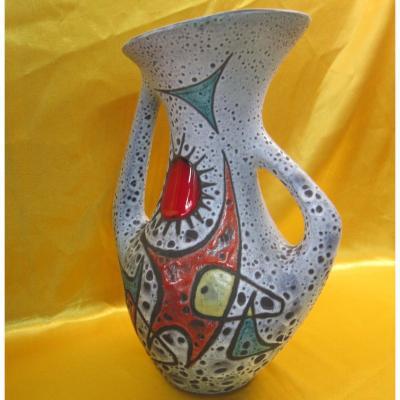 "Vallauris Vase ""moon Stars And Sun"" Marius Bessone"