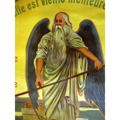 Affiche Litho Publicitaire Tuilerie Chronos Dieu Du Temps Vers 1900